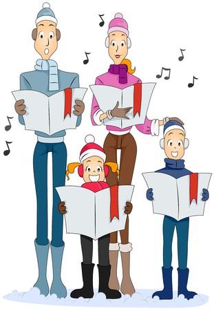christmas carols: Family Christmas Carol Stock Photo