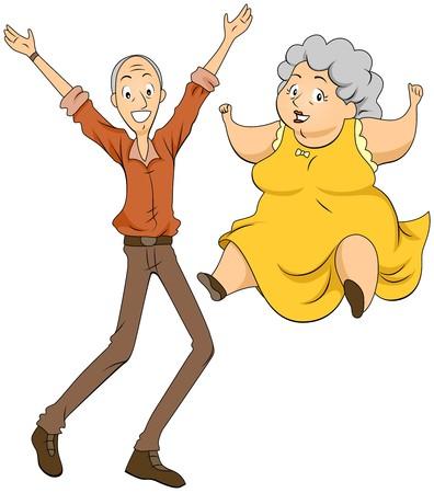 Grandparents Jumping  Stock Photo
