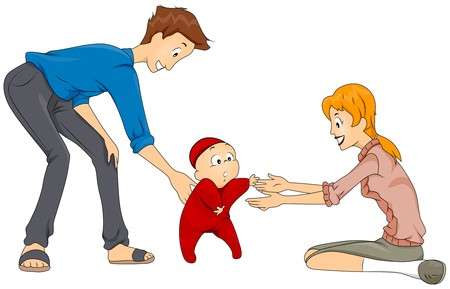 adults learning: Baby First Step  Stock Photo