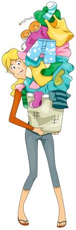 clothes washing: Mujer llevando Dirty Laundry  Foto de archivo