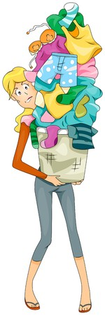 dirty clothes: Woman carrying Dirty Laundry
