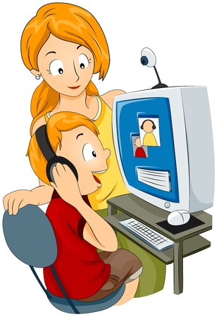 chat online: Mom and Child chatting with Dad