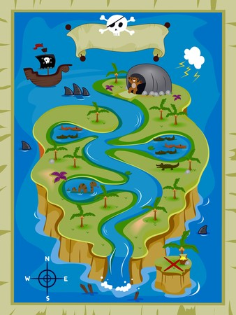 sea snake: Detailed Treasure Map