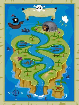 island clipart: Detailed Treasure Map