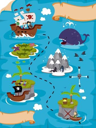 barco pirata: Mapa detallado de tesoro  Foto de archivo