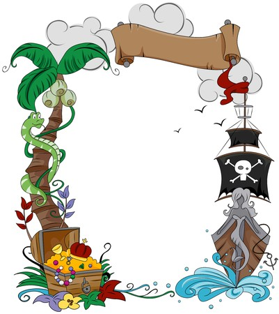 pirate treasure: Pirate Themed Frame  Stock Photo