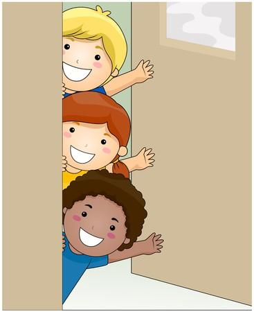 Children inside Classroom Waving   photo
