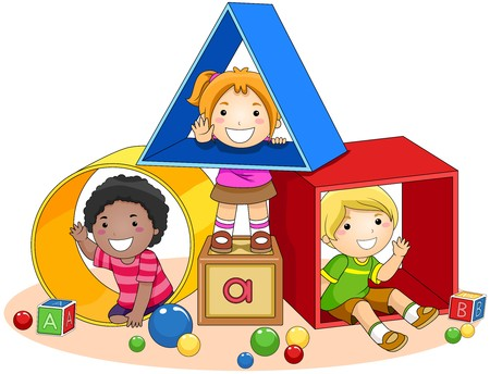 children in class: Children and Toy Blocks  Stock Photo