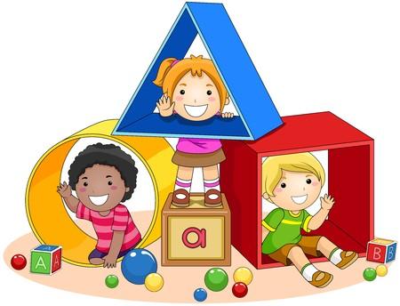 jouet: Enfants et blocs de jouets  Banque d'images
