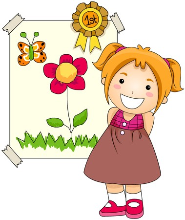 preschool classroom: Girl with Award on her Artwork