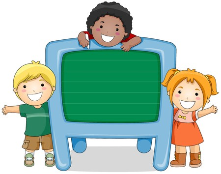 children school clip art: Children with Chalkboard