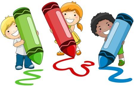 children writing: Children using Crayons