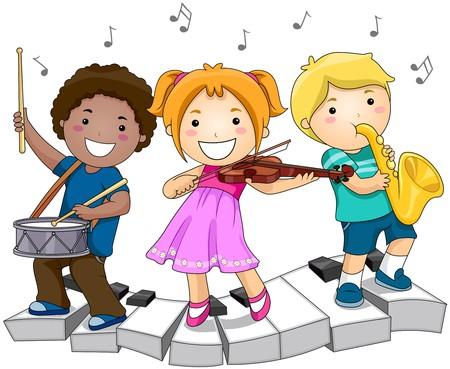 楽器: 楽器と遊んでいる子供たち 写真素材