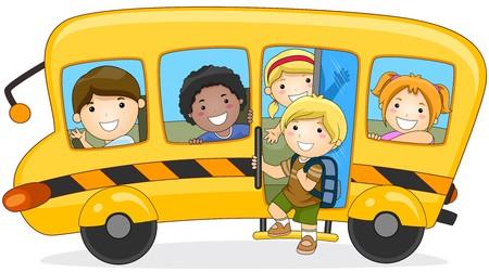 school bus: Children going to School