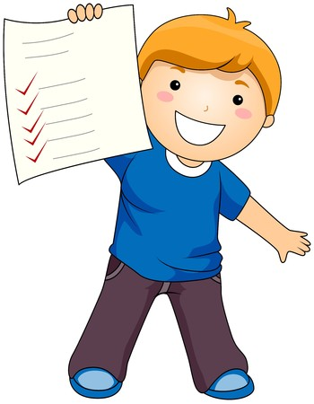school activities: Boy showing his Test Paper