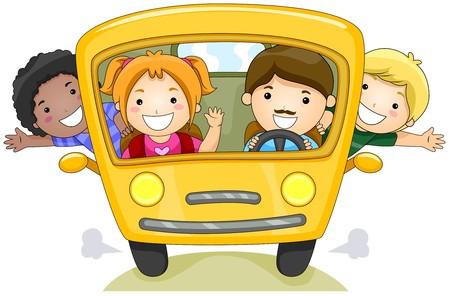 school activities: Children on School Bus   Stock Photo