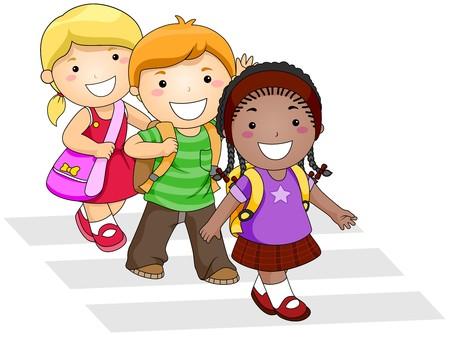 school bag: Children Going to School