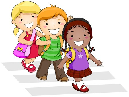 ni�os caminando: Ni�os a ir a la escuela