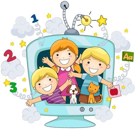 educativo: Niños y niñas en la educación de TV  Foto de archivo