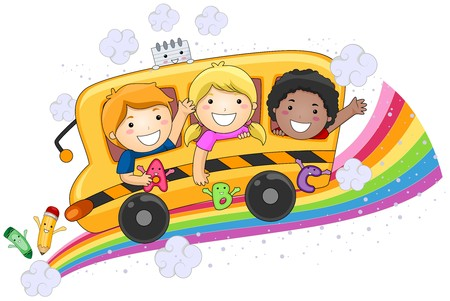 Ni�os en el bus de la escuela de dise�o  Foto de archivo - 7615537