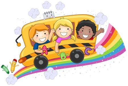 Niños en el bus de la escuela de diseño  Foto de archivo - 7615537
