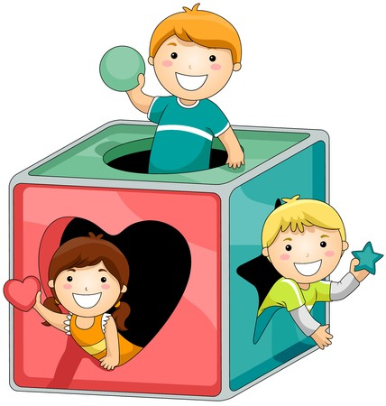 school activities: Children in Shape Block Puzzle
