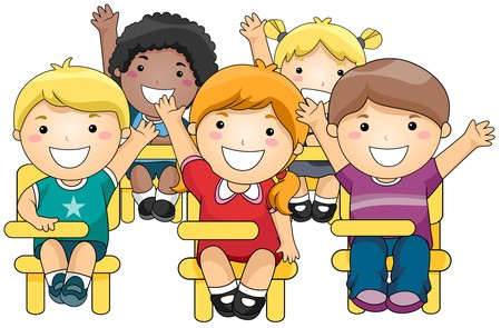 students in classroom: Students Raising their Hands  Stock Photo