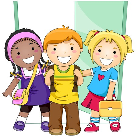 school clipart: Students outside Classroom