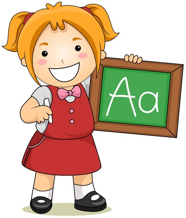 children school clip art: Child showing Letter A on ChalkBoard