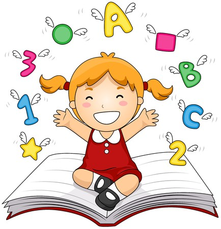 numbers clipart: Girl on Open Book   Stock Photo