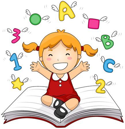 Girl on Open Book Stock Photo - 7615544