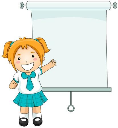 clipart speaker: Girl Presentation