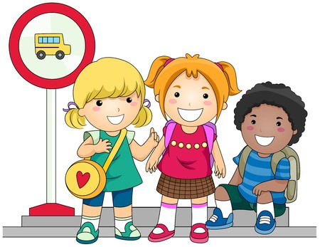 school activities: Children waiting for School Bus  Stock Photo