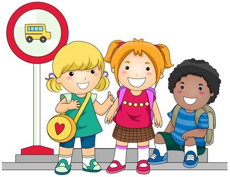 school activities: Children waiting for School Bus  Stock Photo
