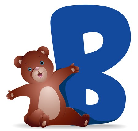 all caps: B for Bear   Stock Photo