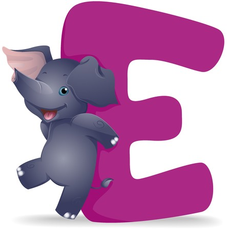 alphabet: E for Elephant   Stock Photo
