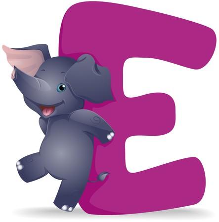 alfabeto con animales: E para elefante