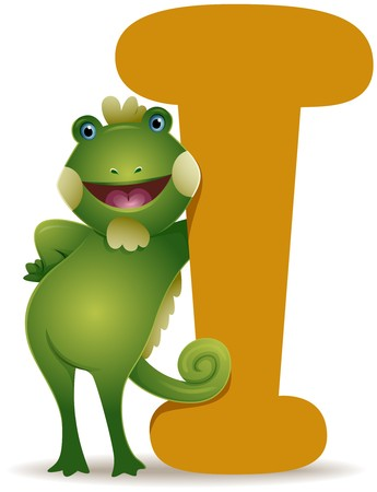 alfabeto con animales: Yo por iguana  Foto de archivo