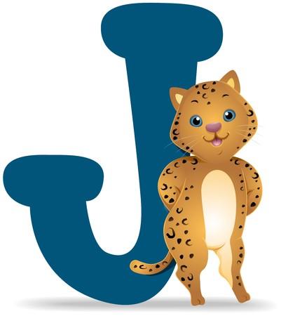 lettre alphabet: J pour Jaguar  Banque d'images
