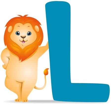 lion cartoon: L for Lion   Stock Photo