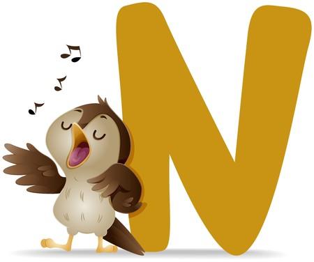 cartoon singing: N for Nightingale