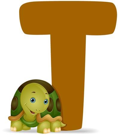 alfabeto con animales: T de tortuga