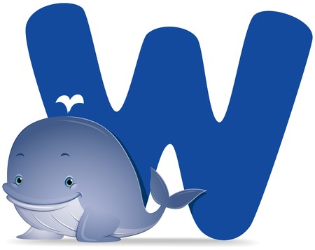cartoon whale: W for Whale