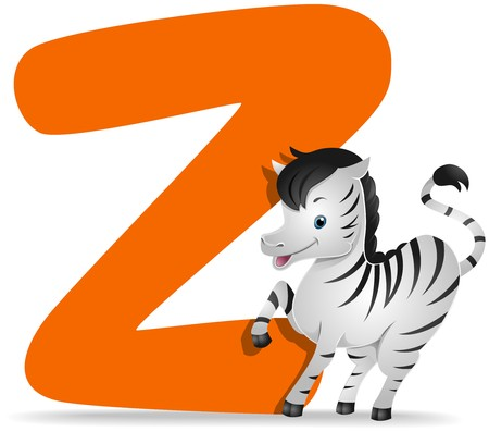 alphabet cartoon: Z for Zebra   Stock Photo