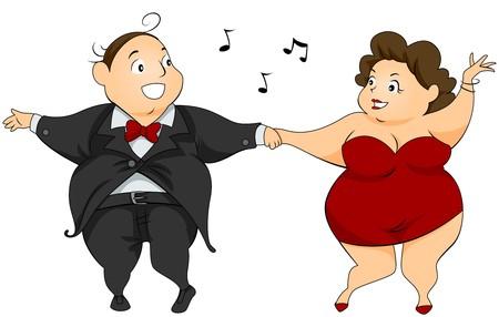 chubby cartoon: Couple Dancing  Stock Photo