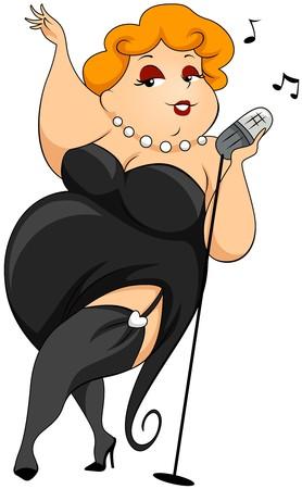 chubby cartoon: Plump woman singing  Stock Photo