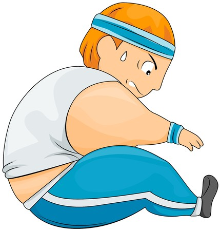 overweight: Plump Guy Stretching  Stock Photo