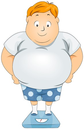 fat person: Plump Man on Weighing Scale