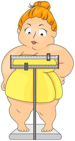 fat person: Plump woman on Weighing Scale