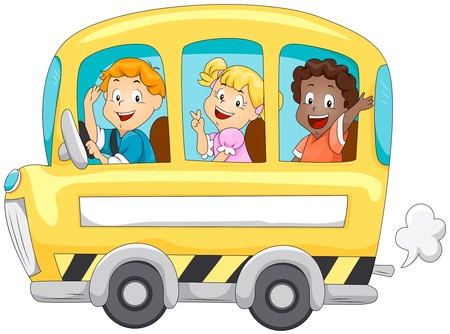 autobus escolar: Ni�os en autob�s de escuela  Foto de archivo